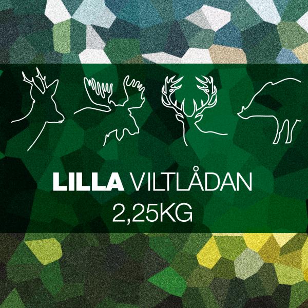 """alt=""""Lilla Viltlådan med styckdetaljer från hjort, vildsvin, älg och rådjur beroende på tillgång och säsong""""/>"""